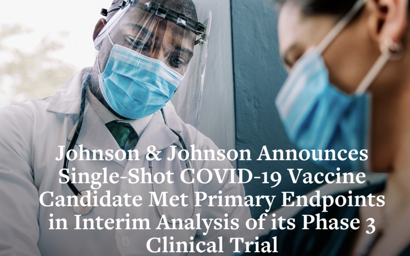 Johnson & Johnson Announces Single-Shot Janssen COVID-19 Vaccine Candidate Met Primary Endpoints in Interim Analysis of its Phase 3 ENSEMBLE Trial